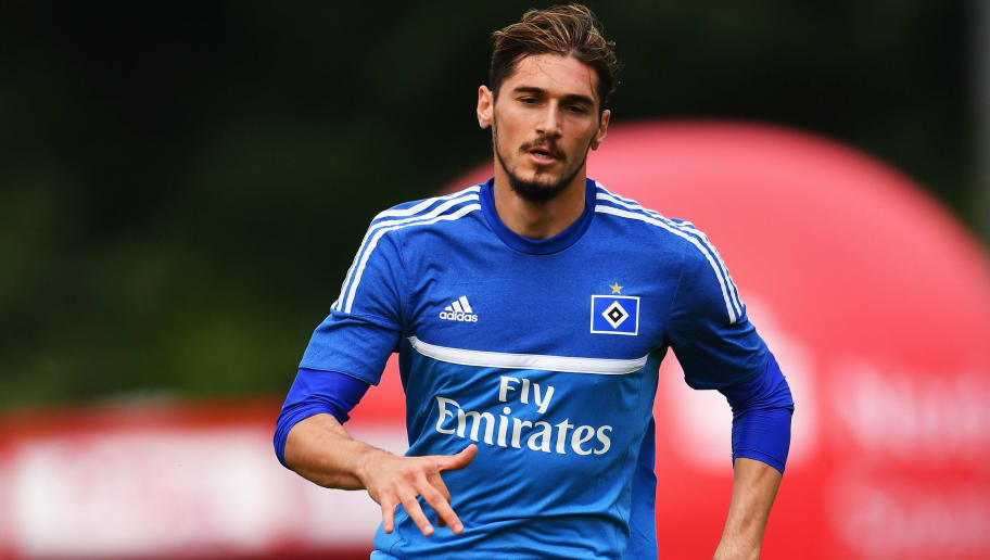 FLENSBURG, GERMANY - JULY 08:  Batuhan Altintas of Hamburg in action during a pre season friendly match between ETSV Weiche Flensburg and Hamburger SV on July 08, 2016 in Flensburg, Germany.  (Photo by Stuart Franklin/Bongarts/Getty Images)