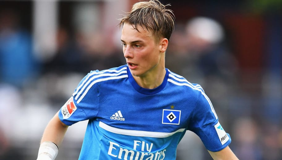 FLENSBURG, GERMANY - JULY 08:  Finn Porath of Hamburg in action during a pre season friendly match between ETSV Weiche Flensburg and Hamburger SV on July 08, 2016 in Flensburg, Germany.  (Photo by Stuart Franklin/Bongarts/Getty Images)