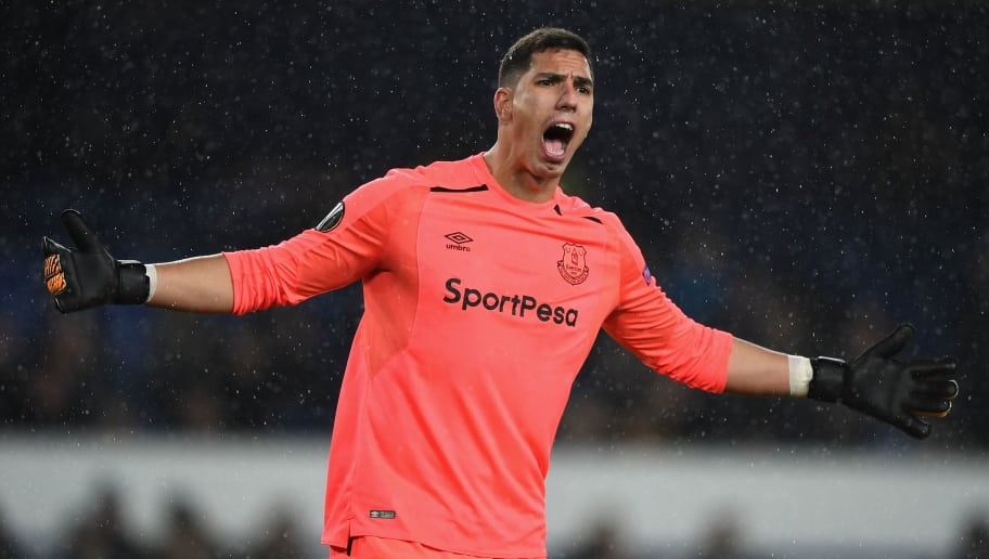LIVERPOOL, ENGLAND - NOVEMBER 23: Joel Robles of Everton reacts during the UEFA Europa League group E match between Everton FC and Atalanta at Goodison Park on November 23, 2017 in Liverpool, United Kingdom.  (Photo by Gareth Copley/Getty Images)