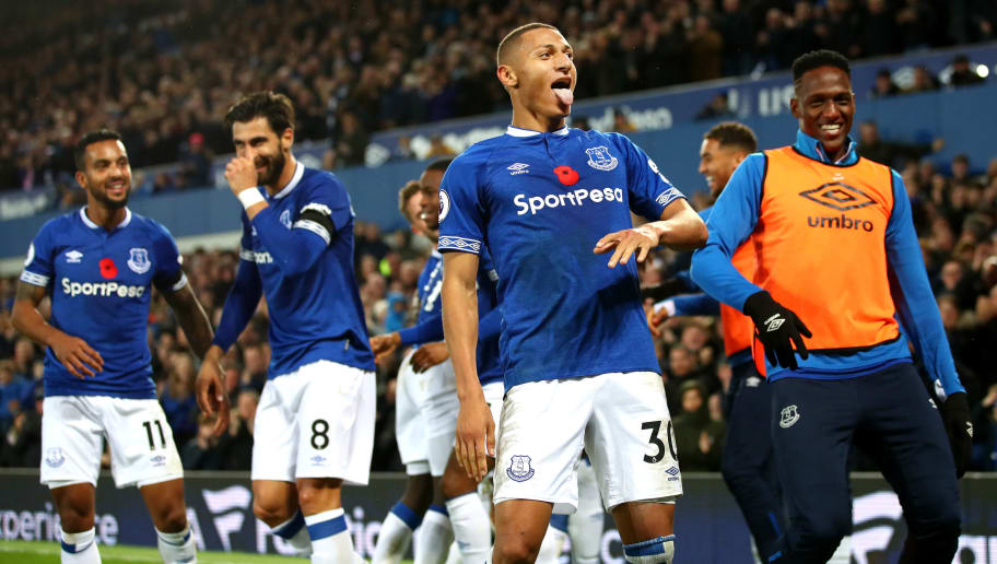 LIVERPOOL, ENGLAND - NOVEMBER 03:  Richarlison of Everton celebrates after scoring his team's third goal during the Premier League match between Everton FC and Brighton & Hove Albion at Goodison Park on November 3, 2018 in Liverpool, United Kingdom.  (Photo by Clive Brunskill/Getty Images)