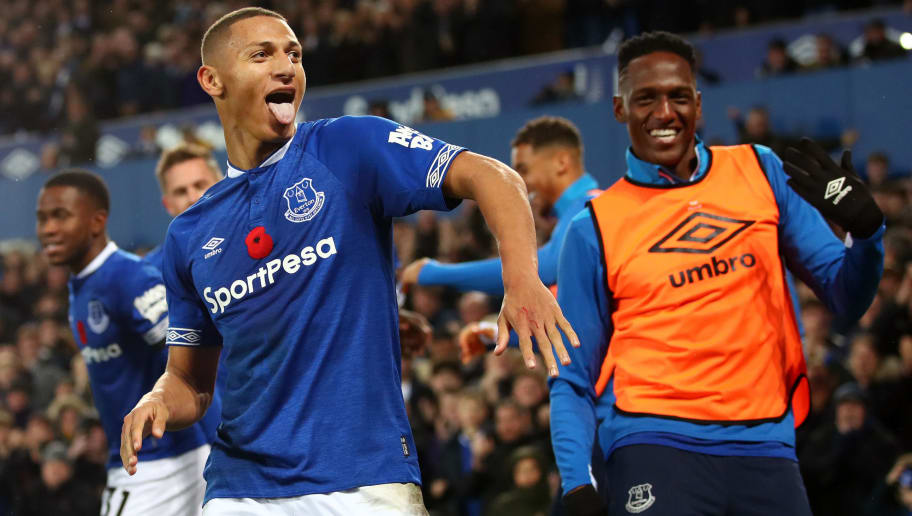 LIVERPOOL, ENGLAND - NOVEMBER 03:  Richarlison of Everton celebrates with teammates after he scores his sides third goal during the Premier League match between Everton FC and Brighton & Hove Albion at Goodison Park on November 3, 2018 in Liverpool, United Kingdom.  (Photo by Clive Brunskill/Getty Images)