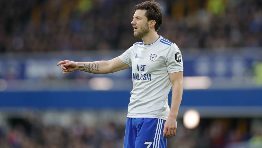 LIVERPOOL, ENGLAND - NOVEMBER 24: Harry Arter of Cardiff City during the Premier League match between Everton FC and Cardiff City at Goodison Park on November 24, 2018 in Liverpool, United Kingdom. (Photo by Malcolm Couzens/Getty Images)