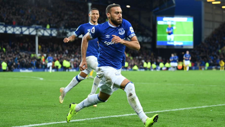 LIVERPOOL, ENGLAND - OCTOBER 21:  Cenk Tosun of Everton celebrates after scoring his team's second goal during the Premier League match between Everton FC and Crystal Palace at Goodison Park on October 21, 2018 in Liverpool, United Kingdom.  (Photo by Michael Regan/Getty Images)