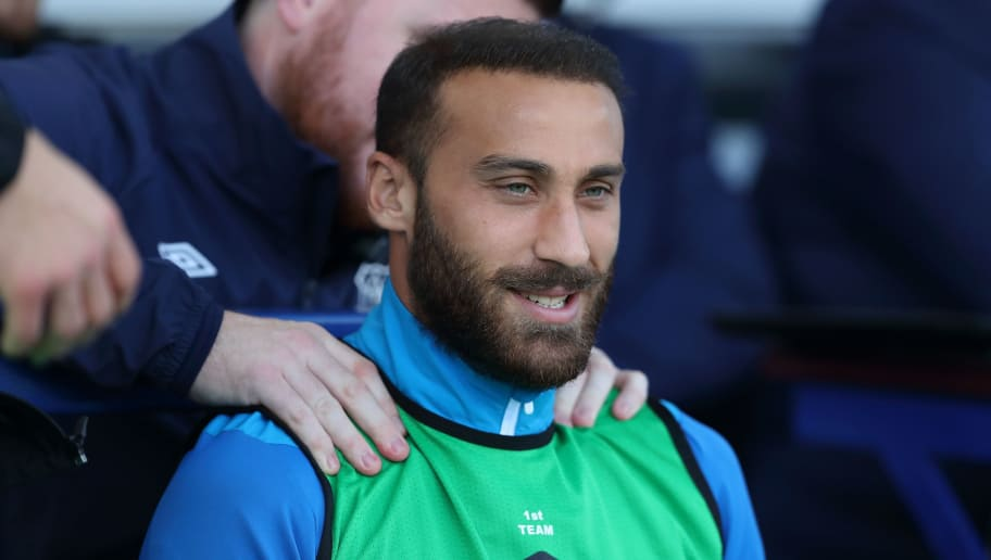 LIVERPOOL, ENGLAND - SEPTEMBER 29: Cenk Tosun of Everton during the Premier League match between Everton FC and Fulham FC at Goodison Park on September 29, 2018 in Liverpool, United Kingdom. (Photo by James Williamson - AMA/Getty Images)