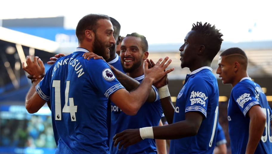 LIVERPOOL, ENGLAND - SEPTEMBER 29:  Cenk Tosun of Everton celebrates with teammates after scoring his sides second goal during the Premier League match between Everton FC and Fulham FC at Goodison Park on September 29, 2018 in Liverpool, United Kingdom.  (Photo by Alex Livesey/Getty Images)