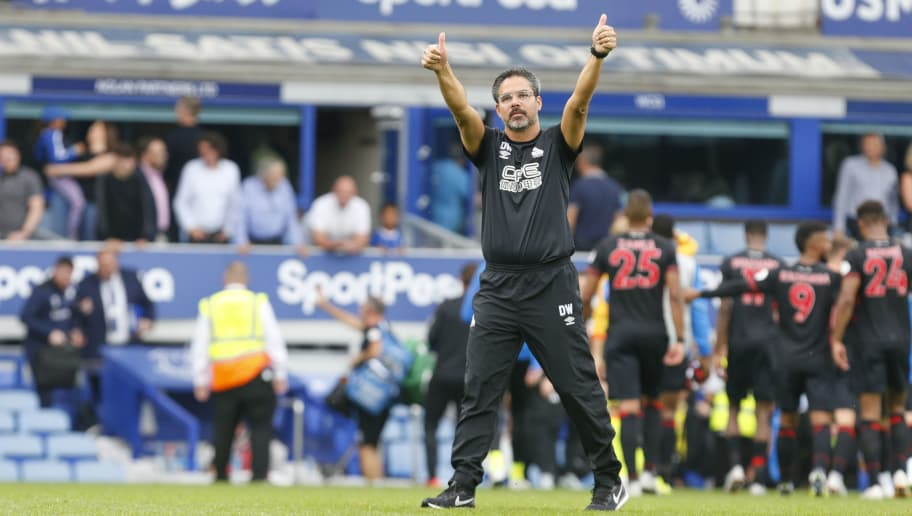 LIVERPOOL, ENGLAND - SEPTEMBER 01 2018. David Wagner the manager of Huddersfield Town thanks the travelling fans following the Premier League match between Everton FC and Huddersfield Town at Goodison Park on September 1, 2018 in Liverpool, United Kingdom. (Photo by John Early/Getty Images)