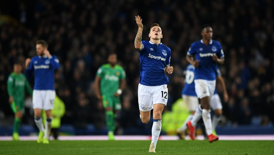 LIVERPOOL, ENGLAND - DECEMBER 10: Lucas Digne of Everton celebrates scoring from a free kick to level the scores 2-2 during the Premier League match between Everton FC and Watford FC at Goodison Park on December 10, 2018 in Liverpool, United Kingdom. (Photo by Gareth Copley/Getty Images)