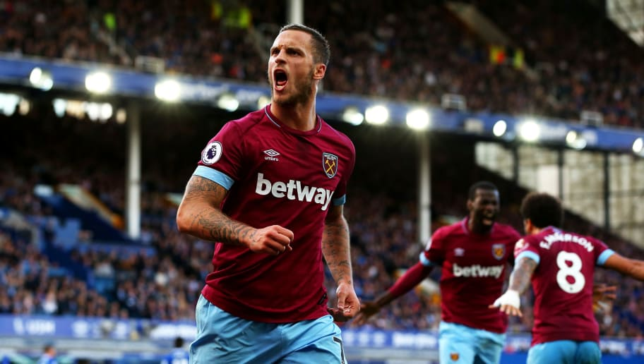 LIVERPOOL, ENGLAND - SEPTEMBER 16:  Marko Arnautovic of West Ham United celebrates after scoring his team's third goal during the Premier League match between Everton FC and West Ham United at Goodison Park on September 16, 2018 in Liverpool, United Kingdom.  (Photo by Alex Livesey/Getty Images)