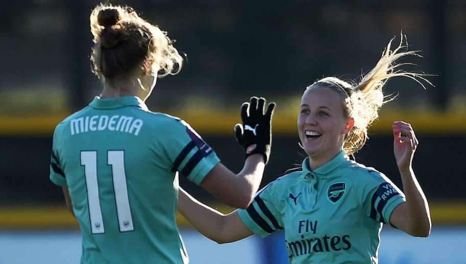 LIVERPOOL, ENGLAND - NOVEMBER 18:  Vivianne Miedema of Arsenal celebrates with  Beth Mead of Arsenal after scoring her sides third goal during the FA WSL match between Everton Ladies and Arsenal Women on November 18, 2018 in Liverpool, England.  (Photo by Nathan Stirk/Getty Images)