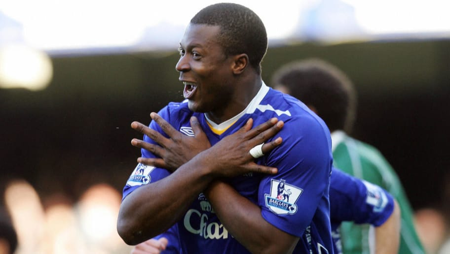 Everton's Nigerian forward Yakubu celebrates scoring against Portsmouth during their English Premiership football match at Goodison Park, Liverpool, northwest England, on March 2, 2008. AFP PHOTO / PAUL ELLIS Mobile and website use of domestic English football pictures are subject to obtaining a Photographic End User Licence from Football DataCo Ltd Tel : +44 (0) 207 864 9121 or e-mail accreditations@football-dataco.com - applies to Premier and Football League matches. (Photo credit should read PAUL ELLIS/AFP/Getty Images)