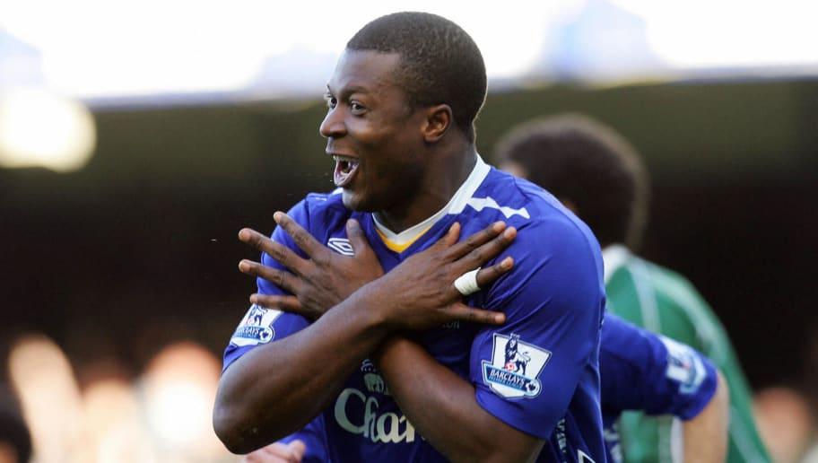 Everton's Nigerian forward Yakubu celebr