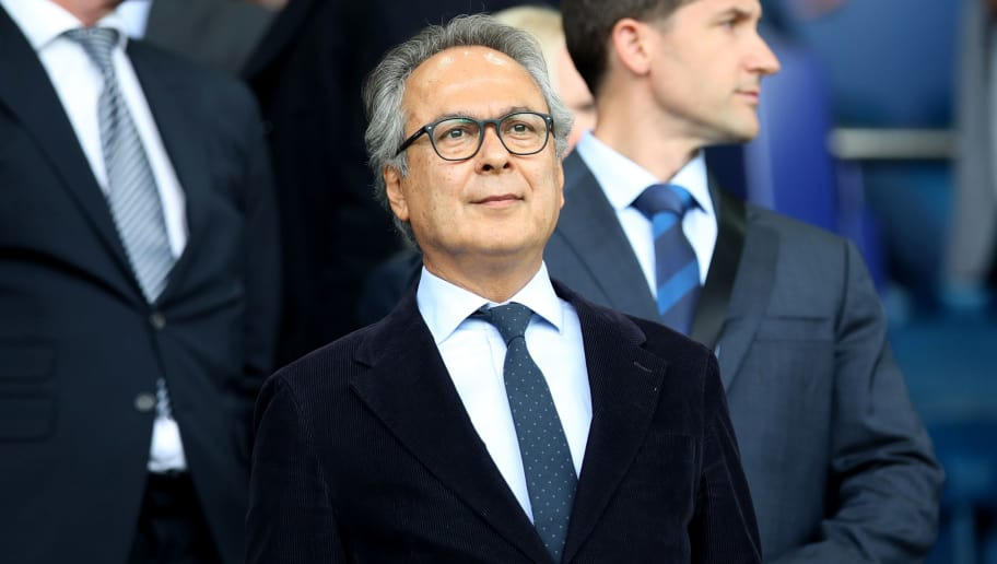 LIVERPOOL, ENGLAND - SEPTEMBER 01:  Everton Co-Owner, Farhad Moshiri looks on from the stands prior to the Premier League match between Everton FC and Huddersfield Town at Goodison Park on September 1, 2018 in Liverpool, United Kingdom.  (Photo by Ian MacNicol/Getty Images)