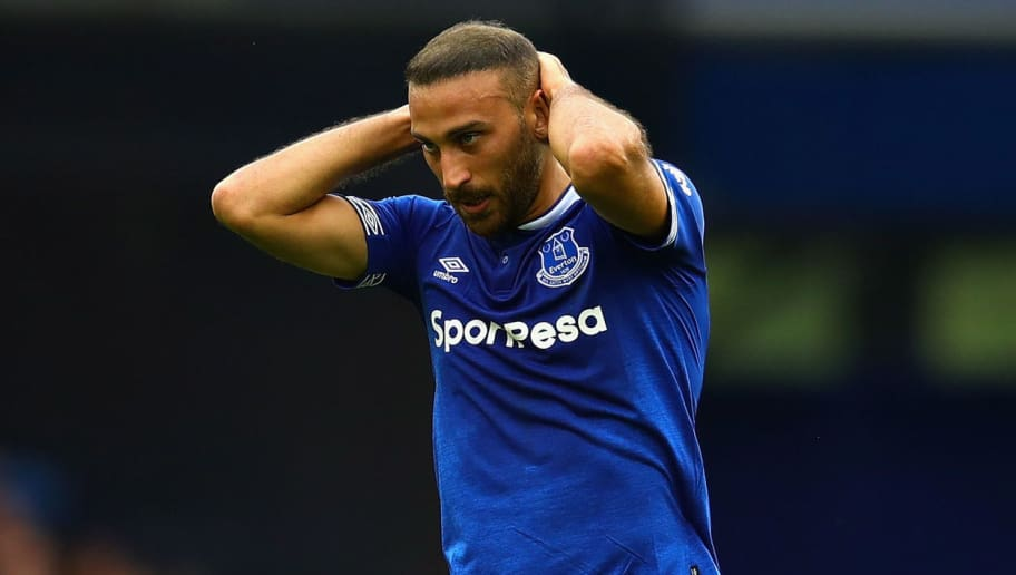 LIVERPOOL, ENGLAND - SEPTEMBER 01: Cenk Tosun of Everton reacts during the Premier League match between Everton FC and Huddersfield Town at Goodison Park on September 1, 2018 in Liverpool, United Kingdom.  (Photo by Chris Brunskill/Fantasista/Getty Images)