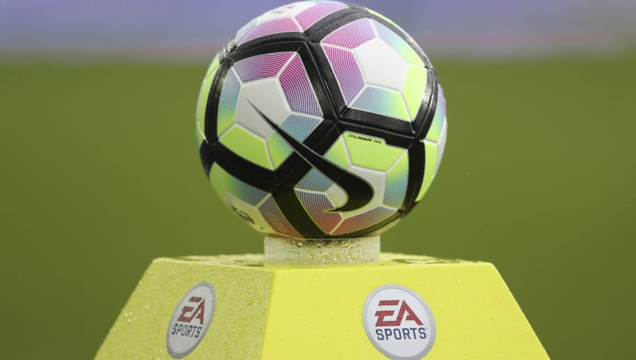 LIVERPOOL, ENGLAND - MARCH 18: Nike Match Ball on EA Sports Plinth at the Start of the Premier League match between Everton and Hull City at Goodison Park on March 18, 2017 in Liverpool, England. (Photo by Mark Robinson/Getty Images)