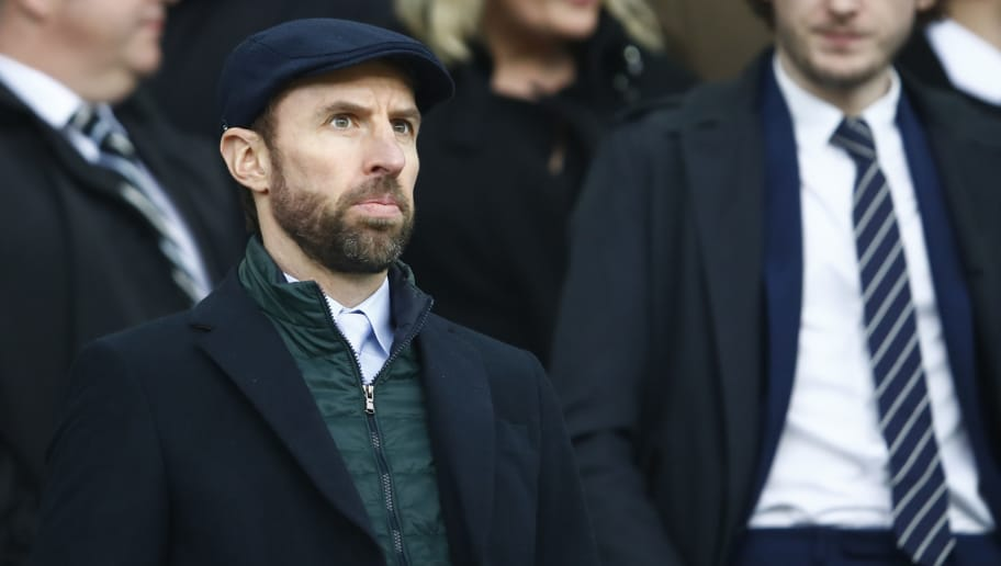 LIVERPOOL, ENGLAND - APRIL 07:  Gareth Southgate, Manager of England is seen in the stands during the Premier League match between Everton and Liverpool at Goodison Park on April 7, 2018 in Liverpool, England.  (Photo by Julian Finney/Getty Images)