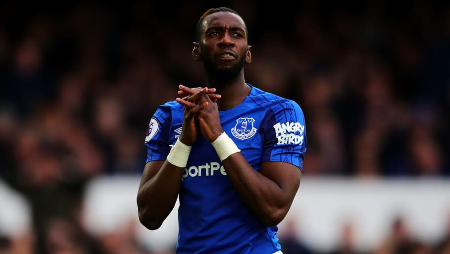 LIVERPOOL, ENGLAND - MARCH 31: Yannick Bolasie of Everton reacts during the Premier League match between Everton and Manchester City at Goodison Park on March 31, 2018 in Liverpool, England. (Photo by Chris Brunskill Ltd/Getty Images)