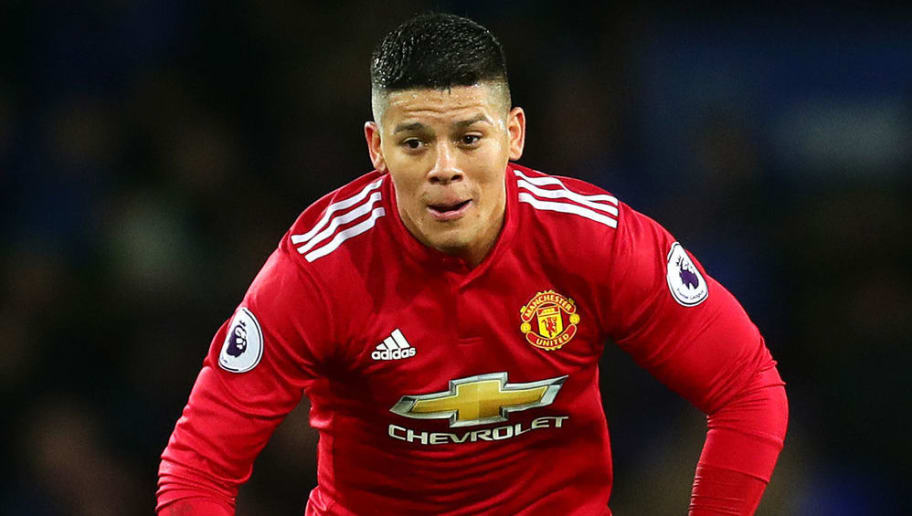 LIVERPOOL, ENGLAND - JANUARY 01: Marcos Rojo of Manchester United in action during the Premier League match between Everton and Manchester United at Goodison Park on January 1, 2018 in Liverpool, England. (Photo by Chris Brunskill Ltd/Getty Images)