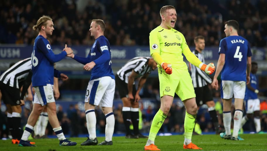 LIVERPOOL, ENGLAND - APRIL 23:  Jordan Pickford of Everton celebrates after the Premier League match between Everton and Newcastle United at Goodison Park on April 23, 2018 in Liverpool, England.  (Photo by Clive Brunskill/Getty Images)