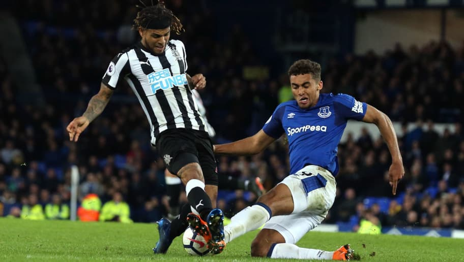 LIVERPOOL, ENGLAND - APRIL 23: DeAndre Yedlin of Newcastle United and Dominic Calvert-Lewin of Everton during the Premier League match between Everton and Newcastle United at Goodison Park on April 23, 2018 in Liverpool, England. (Photo by James Williamson - AMA/Getty Images)
