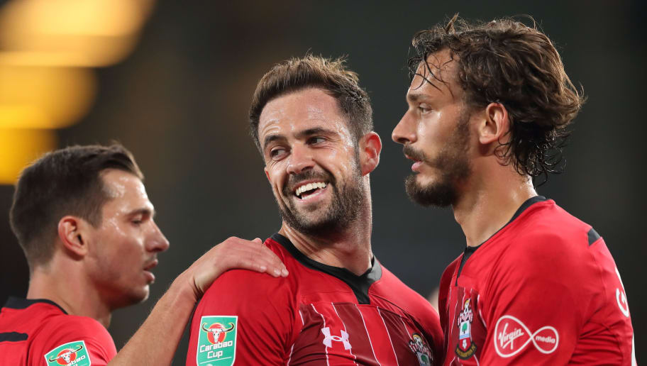 LIVERPOOL, ENGLAND - OCTOBER 02: Danny Ings of Southampton celebrates after scoring a goal to make it 1-0 during the Carabao Cup Third Round match between Everton and Southampton at Goodison Park on October 2, 2018 in Liverpool, England. (Photo by James Williamson - AMA/Getty Images)