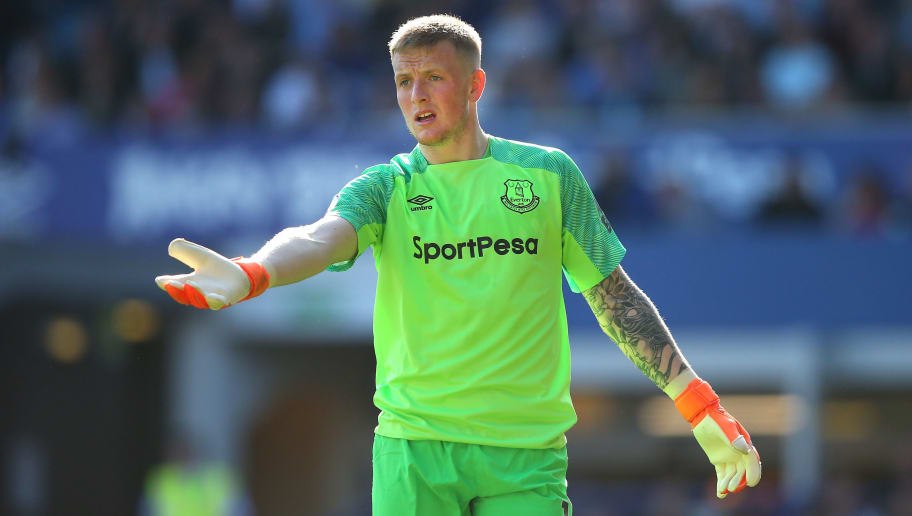 LIVERPOOL, ENGLAND - MAY 05:  Jordan Pickford of Everton during the Premier League match between Everton and Southampton at Goodison Park on May 5, 2018 in Liverpool, England.  (Photo by Alex Livesey/Getty Images)