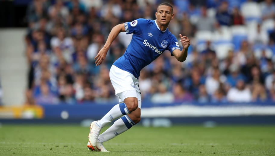 LIVERPOOL, ENGLAND - AUGUST 04: Richarlison de Andrade of Everton during the Pre-Season Friendly between Everton and Valencia at Goodison Park on August 4, 2018 in Liverpool, England. (Photo by Lynne Cameron/Getty Images)