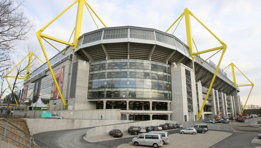 Dortmund, GERMANY:  Exterior view of the Westfalen Stadion (Signal Iduna) in Dortmund taken 22 March 2006. The stadium will host matches during the FIFA Football World Cup 2006, hosted by Germany.  AFP PHOTO JOHN MACDOUGALL  (Photo credit should read JOHN MACDOUGALL/AFP/Getty Images)