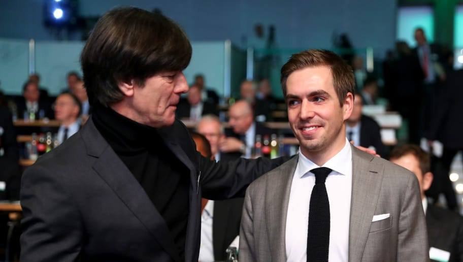 FRANKFURT AM MAIN, GERMANY - DECEMBER 08:  German national team head coach Joachim Loew and former German national player Philipp Lahm look on prior to the Extraordinary DFB Bundestag at Messe Frankfurt on December 8, 2017 in Frankfurt am Main, Germany.  (Photo by Alexander Hassenstein/Bongarts/Getty Images)