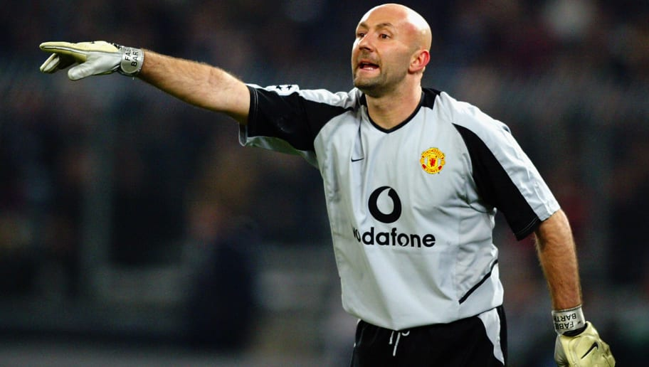 TURIN - FEBRUARY 25:  Fabien Barthez of Manchester United during the UEFA Champions League Second Phase Group D match between Juventus and Manchester United held on February 25, 2003 at the Stadio Delle Alpi, in Turin, Italy. Manchester United won the match 3-0. (Photo by Phil Cole/Getty Images)