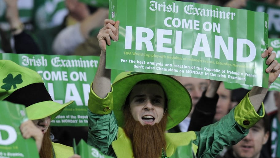 Fans of Republic of Ireland attend the first leg of the World Cup 2010 play-off football match Republic of Ireland vs. France, on November 14, 2009 at the Croke Park Stadium in Dublin. AFP PHOTO/FRANCK FIFE  (Photo credit should read FRANCK FIFE/AFP/Getty Images)