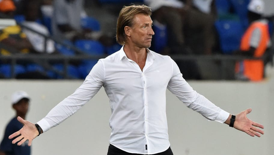 Morocco's French coach Herve Renard reacts during the 2017 Africa Cup of Nations group C football match between Morocco and Ivory Coast in Oyem on January 24, 2017. / AFP / ISSOUF SANOGO        (Photo credit should read ISSOUF SANOGO/AFP/Getty Images)