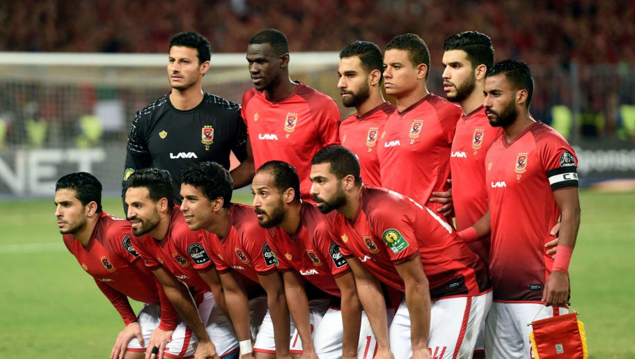 Ahly's starting eleven pose for a group picture ahead of the CAF Champions League final football match between Egypt's Al-Ahly and Tunisia's ES Tunis at the Borg el-Arab stadium near the Mediterranean city of Alexandria on November 2, 2018. (Photo by KHALED DESOUKI / AFP)        (Photo credit should read KHALED DESOUKI/AFP/Getty Images)