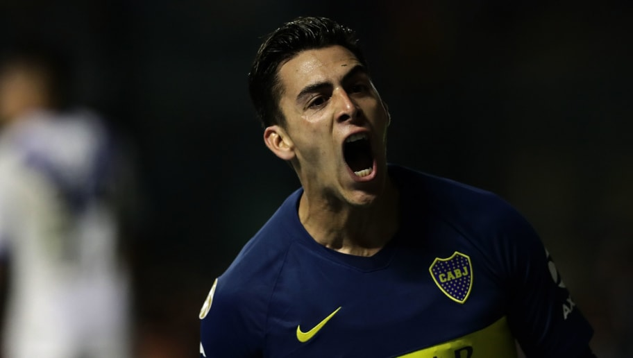 Boca Juniors' forward Cristian Pavon celebrates after scoring against Velez Sarsfield during their Argentina First Division Superliga football match at the La Bombonera stadium in Buenos Aires, on September 2, 2018. (Photo by Alejandro PAGNI / AFP)        (Photo credit should read ALEJANDRO PAGNI/AFP/Getty Images)