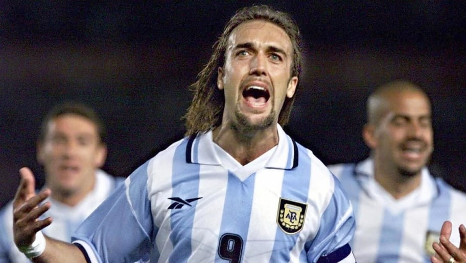 (FILE) Argentine soccer star Gabriel Batistuta celebrates after scoring the first goal against Chile 29 March, 2000, at the Monumental Stadium in Buenos Aires in their World Cup 2002 qualifying match. Batistuta 13 March 2005 announced his retirement from football just two days after his lucrative contract with Qatari side Al-Arabi was cancelled. 'I am retiring as a professional footballer,' said the 36-year-old in a statement released from Doha.  AFP PHOTO / Daniel GARCIA (Photo by - / AFP)        (Photo credit should read -/AFP/Getty Images)