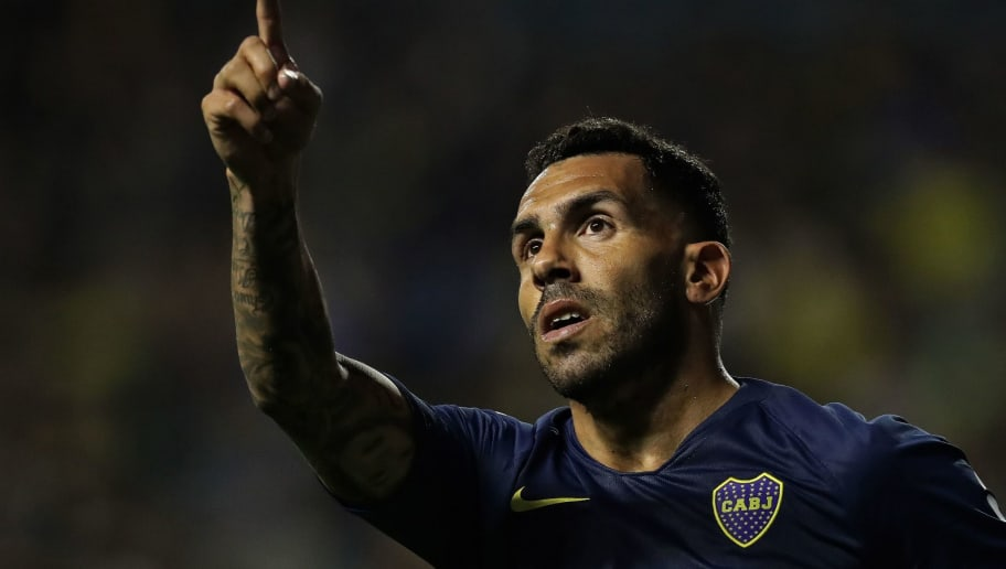 Boca Juniors' forward Carlos Tevez celebrates after scoring a goal against Tigre during an Argentina's First Division Superliga football match at La Bombonera stadium, in Buenos Aires, on November 3, 2018. (Photo by ALEJANDRO PAGNI / AFP)        (Photo credit should read ALEJANDRO PAGNI/AFP/Getty Images)