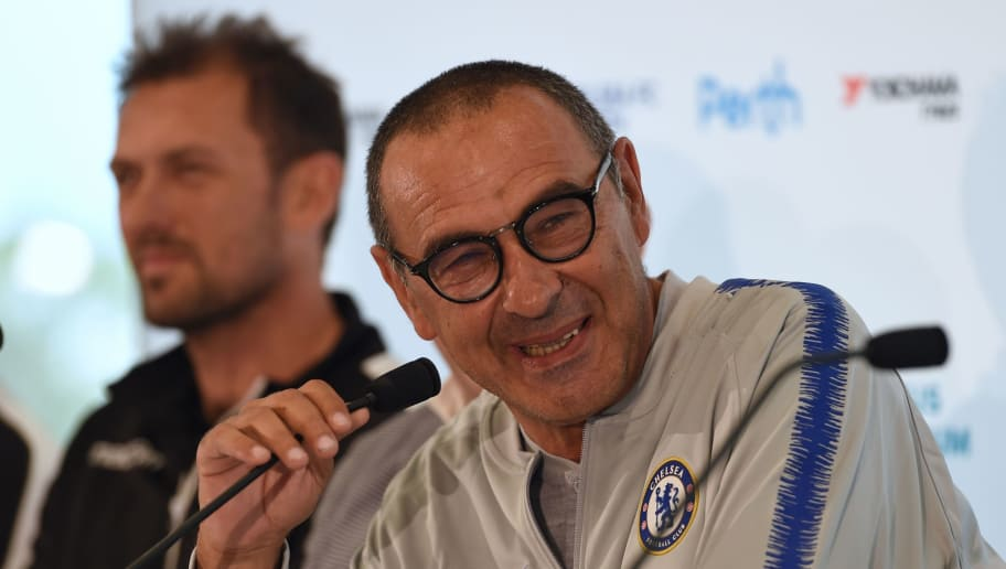 English Premier League side Chelsea's manager Maurizio Sarri speaks during a press conference at Optus Stadium in Perth on July 20, 2018, ahead of their friendly football match against A-League football club Perth Glory on July 23. (Photo by Greg Wood / AFP) / -- IMAGE RESTRICTED TO EDITORIAL USE - STRICTLY NO COMMERCIAL USE --        (Photo credit should read GREG WOOD/AFP/Getty Images)