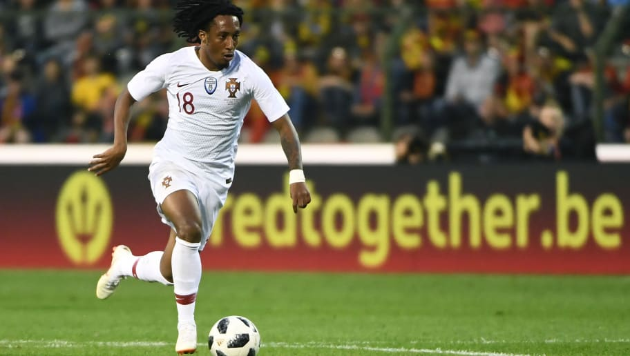 Portugal's forward Gelson Martins controls the ball during the friendly football match between Belgium and Portugal, on June 2, 2018 at the King Baudouin stadium in Brussels. (Photo by EMMANUEL DUNAND / AFP)        (Photo credit should read EMMANUEL DUNAND/AFP/Getty Images)