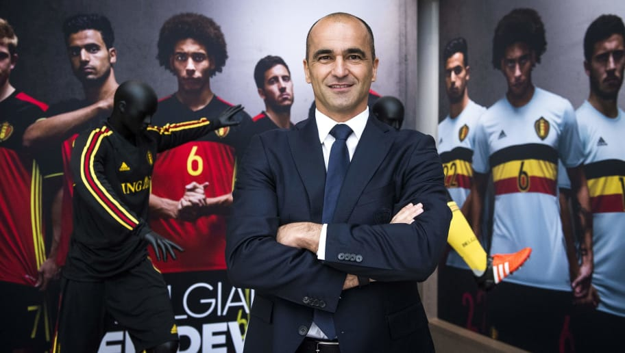Belgium's head coach Roberto Martinez poses for the photographer ahead of a press conference after his contract extension as Red Devils head coach, at the Belgian Soccer Union headquarters (KBVB - URBSFA) in Brussels, on May 18, 2018. (Photo by LAURIE DIEFFEMBACQ / BELGA / AFP) / Belgium OUT        (Photo credit should read LAURIE DIEFFEMBACQ/AFP/Getty Images)