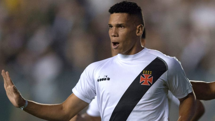 Picture taken on February 7, 2018 shwos Brazil's Vasco da Gama player Paulinho celebrating after scoring a goal against Chile's Universidad Concepcion during their 2018 Libertadores Tournament match at Sao Januario stadium in Rio de Janeiro, Brazil. - As German first division Bundesliga football club Bayer Leverkusen announced on April 27, 2018, Paulinho has signed a contract with the club and will join them in June 2018. (Photo by MAURO PIMENTEL / AFP) / ALTERNATIVE CROP        (Photo credit should read MAURO PIMENTEL/AFP/Getty Images)