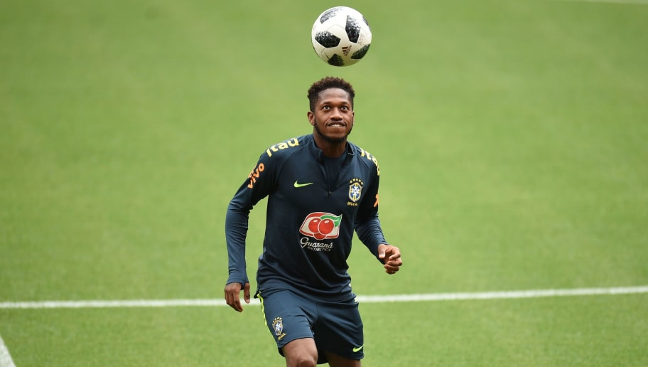 Brazil's midfielder Fred takes part in a training session at Anfield stadium in Liverpool on June 2, 2018, ahead their International friendly football match against Croatia. (Photo by Oli SCARFF / AFP)        (Photo credit should read OLI SCARFF/AFP/Getty Images)