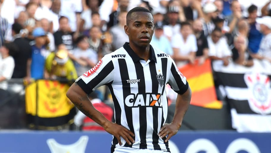 Atletico Mineiro player Robinho is seen during the Brazilian Championship football match against Corinthians at the Arena Corinthians stadium on November 26, 2017, in Sao Paulo, Brazil.   A Milan court on November 23, 2017 sentenced former AC Milan and Brazil forward Robinho aka Robson de Souza Santos to nine years in jail for taking part in the gang-rape of a 22-year-old Albanian woman in a Milan disco on January 22, 2013. Robinho, who is now playing for the Brazilian team Atletico Mineiro, was found guilty of committing the rape with five other people. / AFP PHOTO / NELSON ALMEIDA        (Photo credit should read NELSON ALMEIDA/AFP/Getty Images)