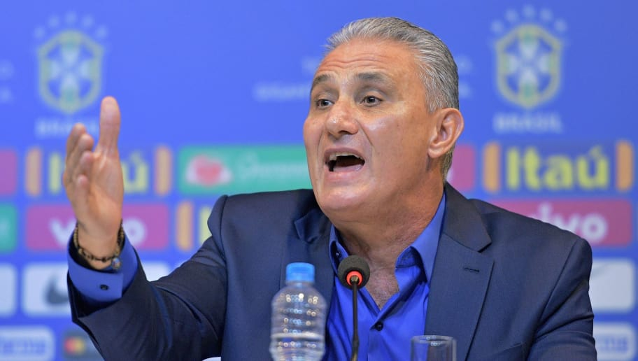 Brazil's national football team coach Tite speaks during a press conference to announce his squad of players for the upcoming friendly matches against the U.S. and El Salvador, in Rio de Janeiro on August 17, 2018. - Brazil will face the US on September 7 and El Salvador on September 11. (Photo by CARL DE SOUZA / AFP)        (Photo credit should read CARL DE SOUZA/AFP/Getty Images)