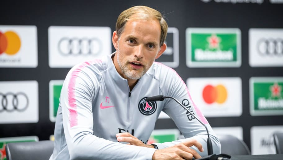 Paris Saint-Germain's head coach Thomas Tuchel speaks during a press conference after the International Champions Cup football match Bayern Munich against Paris Saint-Germain (PSG) on July 21, 2018 at the Worthersee Stadium in Klagenfurt, Austria. (Photo by Jure Makovec / AFP)        (Photo credit should read JURE MAKOVEC/AFP/Getty Images)
