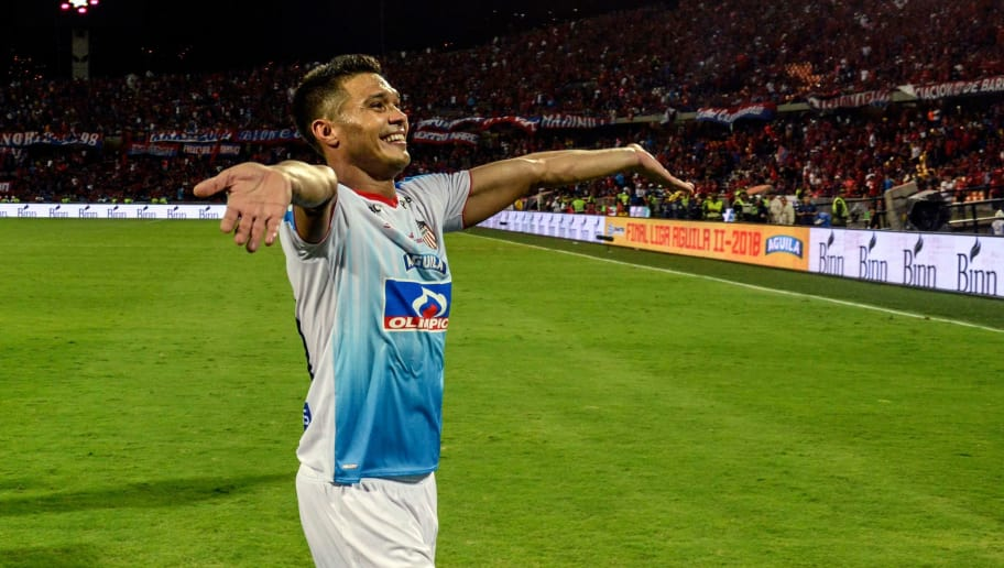 Atletico Junior's Teofilo Gutierrez celebrates after winning the 2018 Colombian Football league final match against Independiente Medellin at Atanasio Girardot stadium, in Medellin, Antioquia department, Colombia on December 16, 2018. (Photo by JOAQUIN SARMIENTO / AFP)        (Photo credit should read JOAQUIN SARMIENTO/AFP/Getty Images)