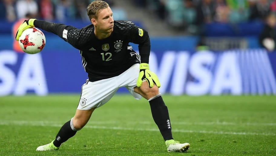 Germany's goalkeaper Bernd Leno passes the ball during the 2017 Confederations Cup group B football match between Australia and Germany at the Fisht stadium in Sochi on June 19, 2017. / AFP PHOTO / FRANCK FIFE        (Photo credit should read FRANCK FIFE/AFP/Getty Images)