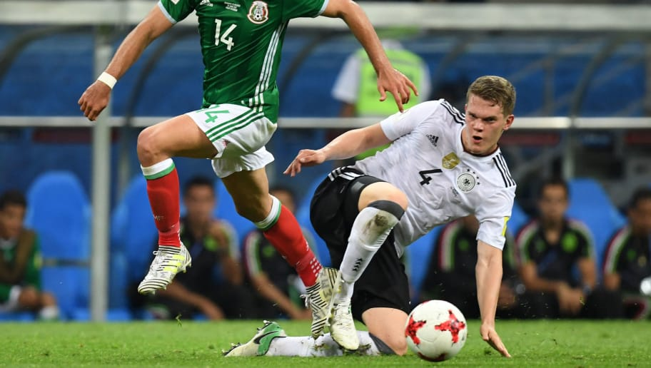 Mexico's forward Javier Hernandez (L) challenges Germany's defender Matthias Ginter during the 2017 FIFA Confederations Cup semi-final football match between Germany and Mexico at the Fisht Stadium in Sochi on June 29, 2017. / AFP PHOTO / Kirill KUDRYAVTSEV        (Photo credit should read KIRILL KUDRYAVTSEV/AFP/Getty Images)