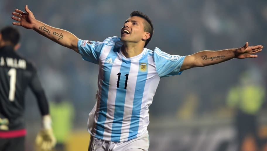 Argentina's forward Sergio Aguero celebrates after scoring against Paraguay during their Copa America semifinal football match in Concepcion, Chile on June 30, 2015. AFP PHOTO / YURI CORTEZ        (Photo credit should read YURI CORTEZ/AFP/Getty Images)