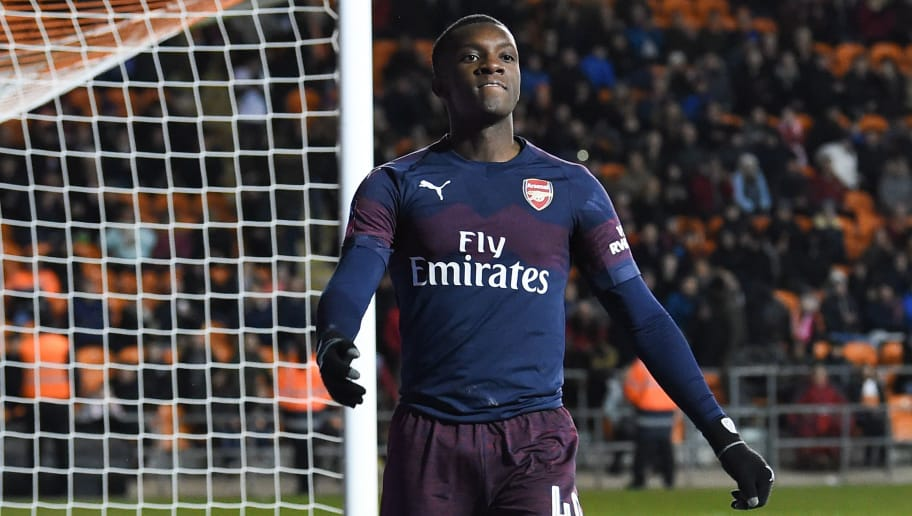 Arsenal's English striker Eddie Nketiah reacts after missing a chance during the English FA Cup third round football match between Blackpool and Arsenal at Bloomfield Road in Blackpool, north west England on January 5, 2019. (Photo by Paul ELLIS / AFP) / RESTRICTED TO EDITORIAL USE. No use with unauthorized audio, video, data, fixture lists, club/league logos or 'live' services. Online in-match use limited to 120 images. An additional 40 images may be used in extra time. No video emulation. Social media in-match use limited to 120 images. An additional 40 images may be used in extra time. No use in betting publications, games or single club/league/player publications. /         (Photo credit should read PAUL ELLIS/AFP/Getty Images)