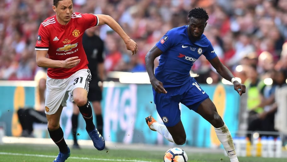 Manchester United's Serbian midfielder Nemanja Matic (L) vies with Chelsea's French midfielder Tiemoue Bakayoko during the English FA Cup final football match between Chelsea and Manchester United at Wembley stadium in London on May 19, 2018. (Photo by Glyn KIRK / AFP) / NOT FOR MARKETING OR ADVERTISING USE / RESTRICTED TO EDITORIAL USE        (Photo credit should read GLYN KIRK/AFP/Getty Images)