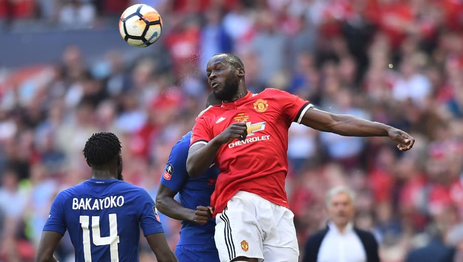 Manchester United's Belgian striker Romelu Lukaku wins a header during the English FA Cup final football match between Chelsea and Manchester United at Wembley stadium in London on May 19, 2018. (Photo by Glyn KIRK / AFP) / NOT FOR MARKETING OR ADVERTISING USE / RESTRICTED TO EDITORIAL USE        (Photo credit should read GLYN KIRK/AFP/Getty Images)